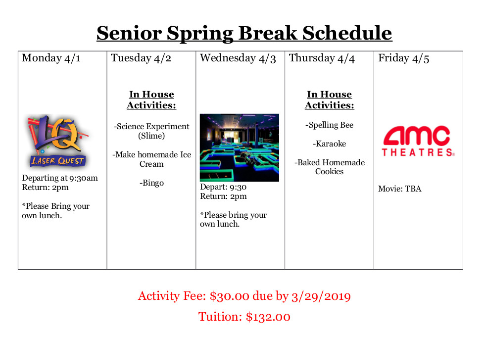 2019 Junior Spring Break Schedule